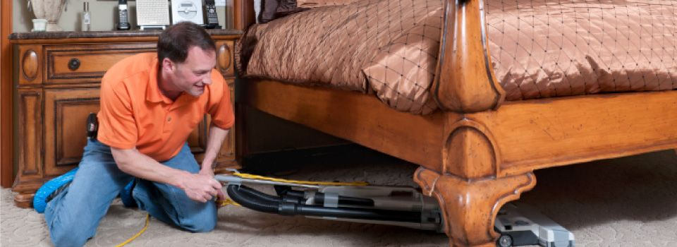 Vacuuming under bed